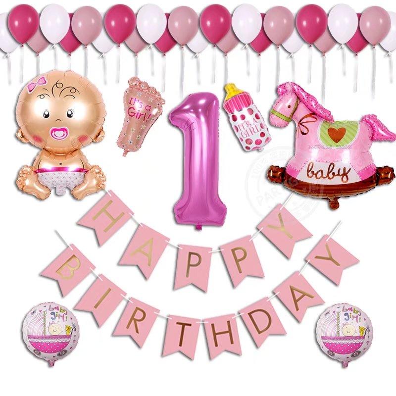 38pcs/lot Baby Shower Birthday Balloon Boy Girl 1 Year Old
