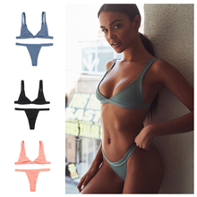 OCQBI 2019 New Sexy Women solid color swimsuit bikini  Brazilian Bikini Thong  Halter brazilian bikini Red stylish solid color beads embellished halter bikini set for women