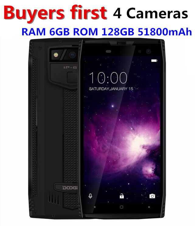 DOOGEE S50 IP68 Smartphone étanche 5.7 ''18:9 6 GB 128 GB MTK6763 Octa Core android 7.1 5180 mAh 4 caméras 16.0MP téléphones robustes