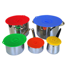 5 stücke Universal Silikon Saug Deckel-schüssel Pan Kochtopfdeckel-Silicon Stretch Silikon Abdeckung Küche Pan Spill deckel Stopper Abdeckung