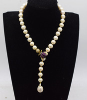 freshwater pearl white near round & reborn keshi drop 11 12mm AA necklace 19inch insect hook FPPJ wholesale beads nature