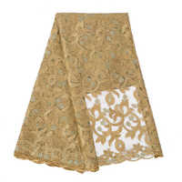 african lace fabric pure gold high quality african tulle lace fabric 5yards embroidered tulle lace fabric with stones