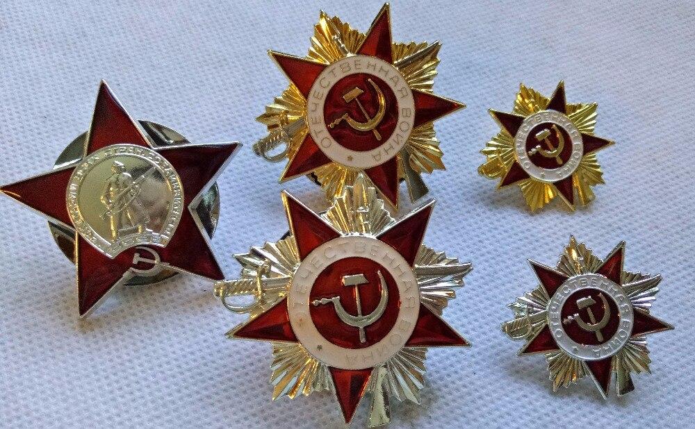 5 STÜCKE SET von Sowjetischen WW2 Aufträge (Medaillen) Abzeichen KOPIE UDSSR RUSSLAND UNION Moskau Kiew UNS