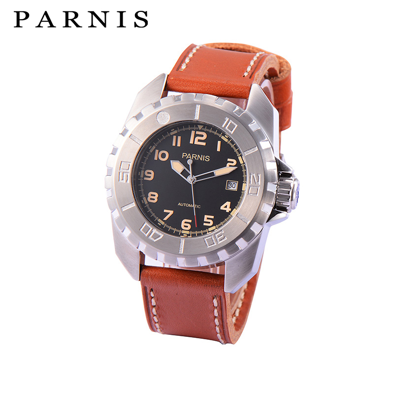 Fashion Mechanical Men's Watch 44mm Parnis Rotating Bezel Automatic Men Watch Wrist Watch Brown Black Watchband 100M Waterproof цена и фото