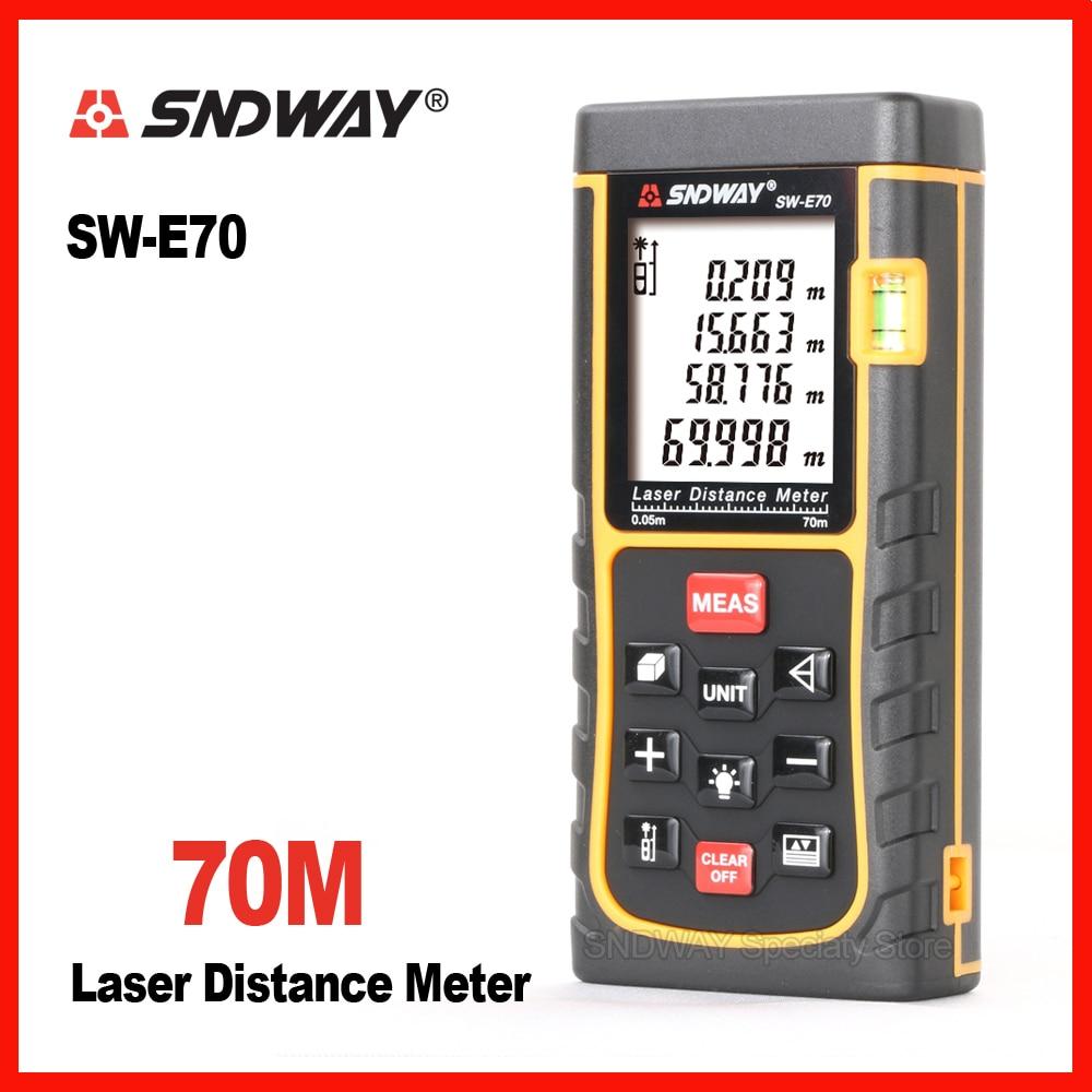 Sndway 70 м цифровой лазерный дальномер Расстояние инструменты рулетка метр trena дальномер электронный правители E70