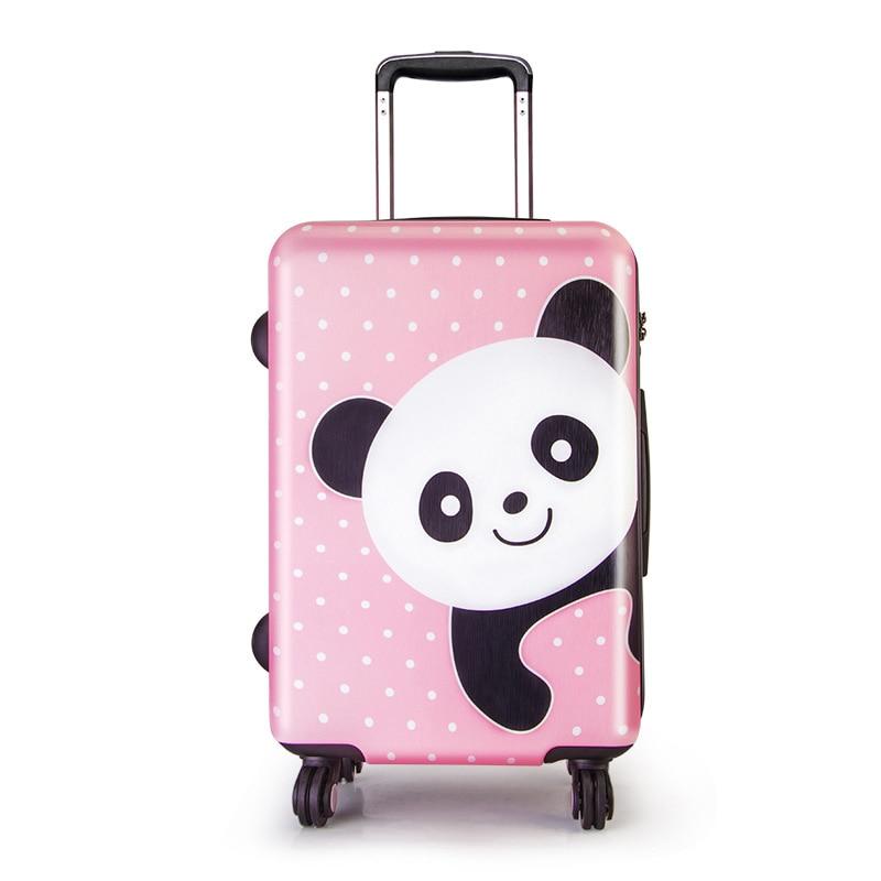 LeTrend śliczne Cartoon dzieci toczenia bagażu Spinner walizka koła studenci kabiny wózek 20/24 cal niedźwiedź wzór torba podróżna w Walizki od Bagaże i torby na  Grupa 1