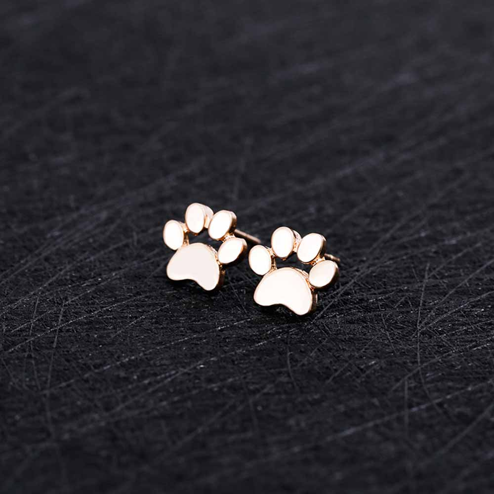 KISSWIFE Cute Paw Print Earrings For Women Cat And Dog Paw Stud Earrings