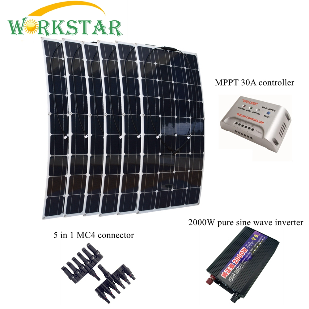 6pcs 18V 100W Flexible Solar Panel with 12V/24V 30A Solar Charger Controller and 2000W Pure Sine Wave Inverter 600W solar System free shipping 600w wind grid tie inverter with lcd data for 12v 24v ac wind turbine 90 260vac no need controller and battery