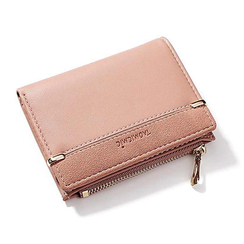 Женский кошелек, короткий женский кошелек для монет, модные кошельки для женщин, держатель для карт, маленький женский кошелек, Женский мини-клатч на застежке для девушек - Цвет: Розовый
