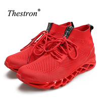 High Top Man Running Shoes Black Red Men Athletic Sock Shoes Comfortable Gym Trainers Sneakers Breathable Summer Walking Shoes