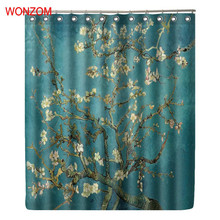 WONZOM Flower Waterproof Shower Curtain Tree Bathroom Decor Floral Decoration Cortina De Bano 2017 Polyester Bath Curtain Gift waterproof floral tree of life shower curtain
