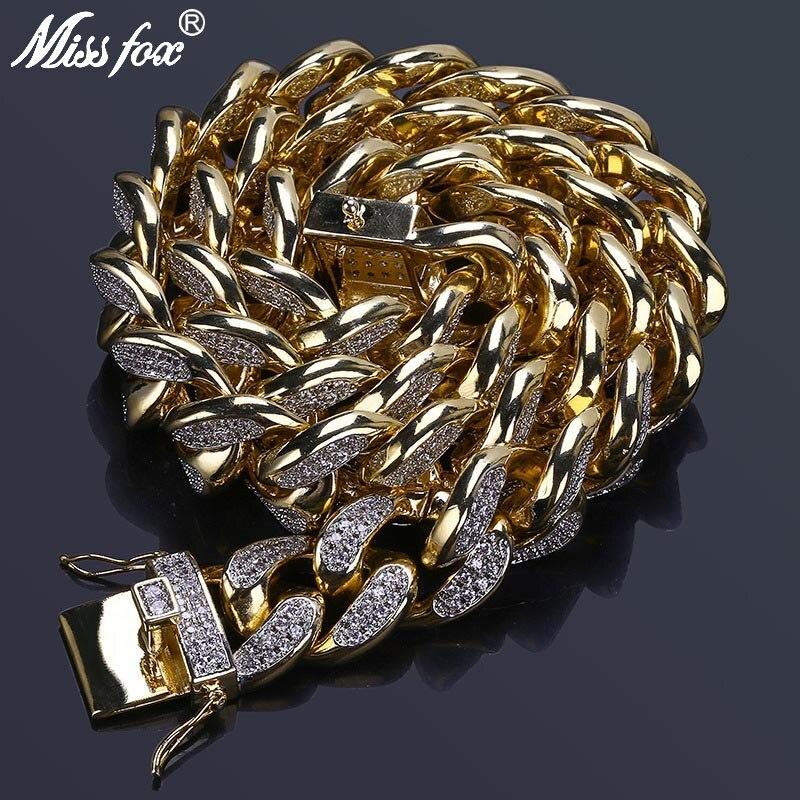 MISSFOX HÜFTE Hop Jewelers 18mm USA Männer Iced Out 24K Gold Überzogene Ton Künstliche CZ Miami Kubanischen Link kette Choker Halskette 18 22