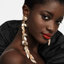Juran brincos femininos de folhas, brincos femininos de borla longa, do metal, pendurados, joias para mulheres 2020