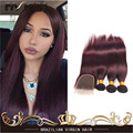 7A Brazilian Virgin Hair Straight 3Pcs Burgundy Human Hair 99j Brazilian Straight Hair Brazilian Hair Weave With 4x4 Closure