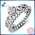 Fashion 925 Sterling Silver My Princess Queen Crown Stackable Ring with Clear CZ Authentic Jewelry