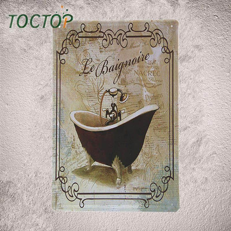 Toctop Baignovie Bath Crock Metal Plaque Bar Home Bathroom Wall Decor M19 China