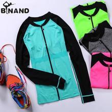 Легкая куртка для занятий спортом, фитнесом, с длинным рукавом, на молнии, облегающее пальто для женщин, для бега/активного отдыха/йоги