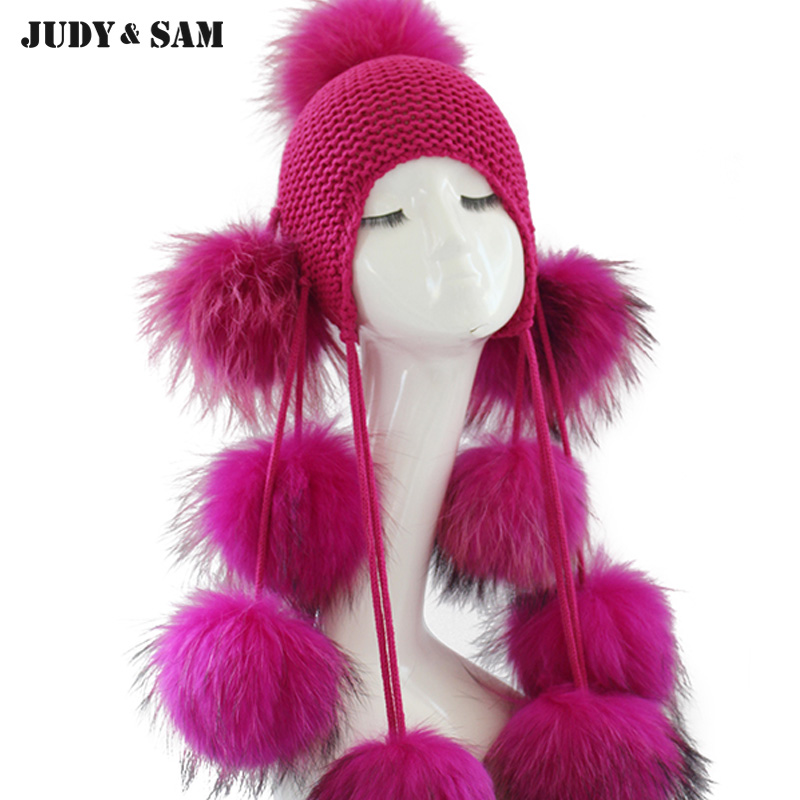 Super Eye-catching Hat 9 Pompoms Kids Braid Hat Amazing Street For Children Real Raccoon Fur Pom Poms Shop Signs Gift Wool Hat wool 2 pieces set kids winter hat scarves for girls boys pom poms beanies kids fur cap knitted hats