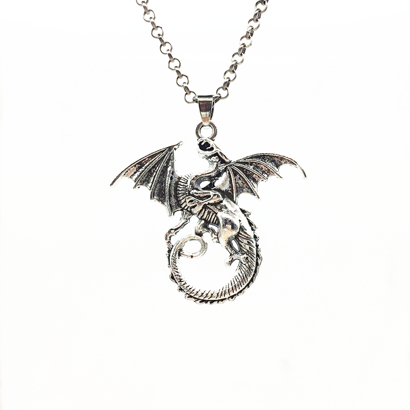 1pc Creative Flying Dragon Design Antiqued Silver Tone Alloy Charms Long Sweater Chain Trendy Pendant Necklace Jewelry For Gifts