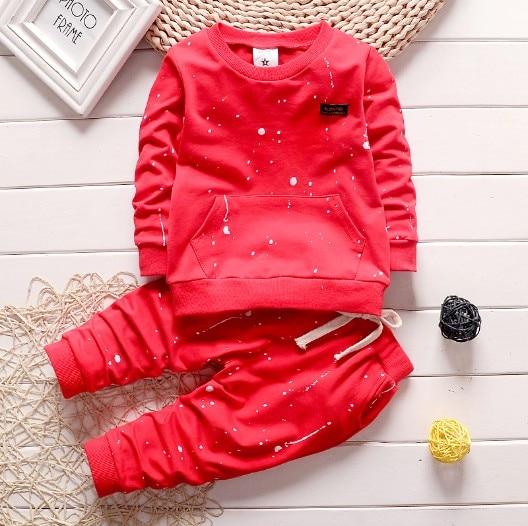 0-3Y new 2016 autumn baby boy paint point t shirt+pant clothing sets 2pcs boys spring autumn clothes set