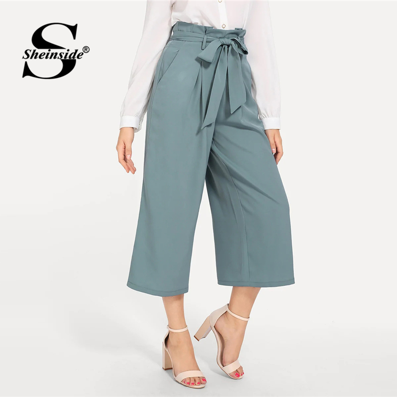Sheinside Boxed Pleated   Wide     Leg     Pants   Women Loose   Pants   Belted Elegant Trousers 2019 Workwear Spring Ladies Solid   Pants
