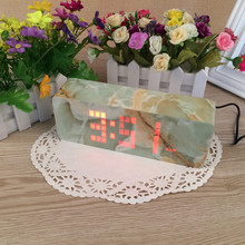 Sound Control LED Digital Marble pattern alarm clock Electronic Clock cube wooden temperature sensor bedroom clocks 20*7.5*4.5cm
