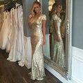 Gold Sequin Bridesmaid Dresses Short Sleeve Floor Length Sheath 2016 New Fashion Wedding Party Dresses Factory Custom Made