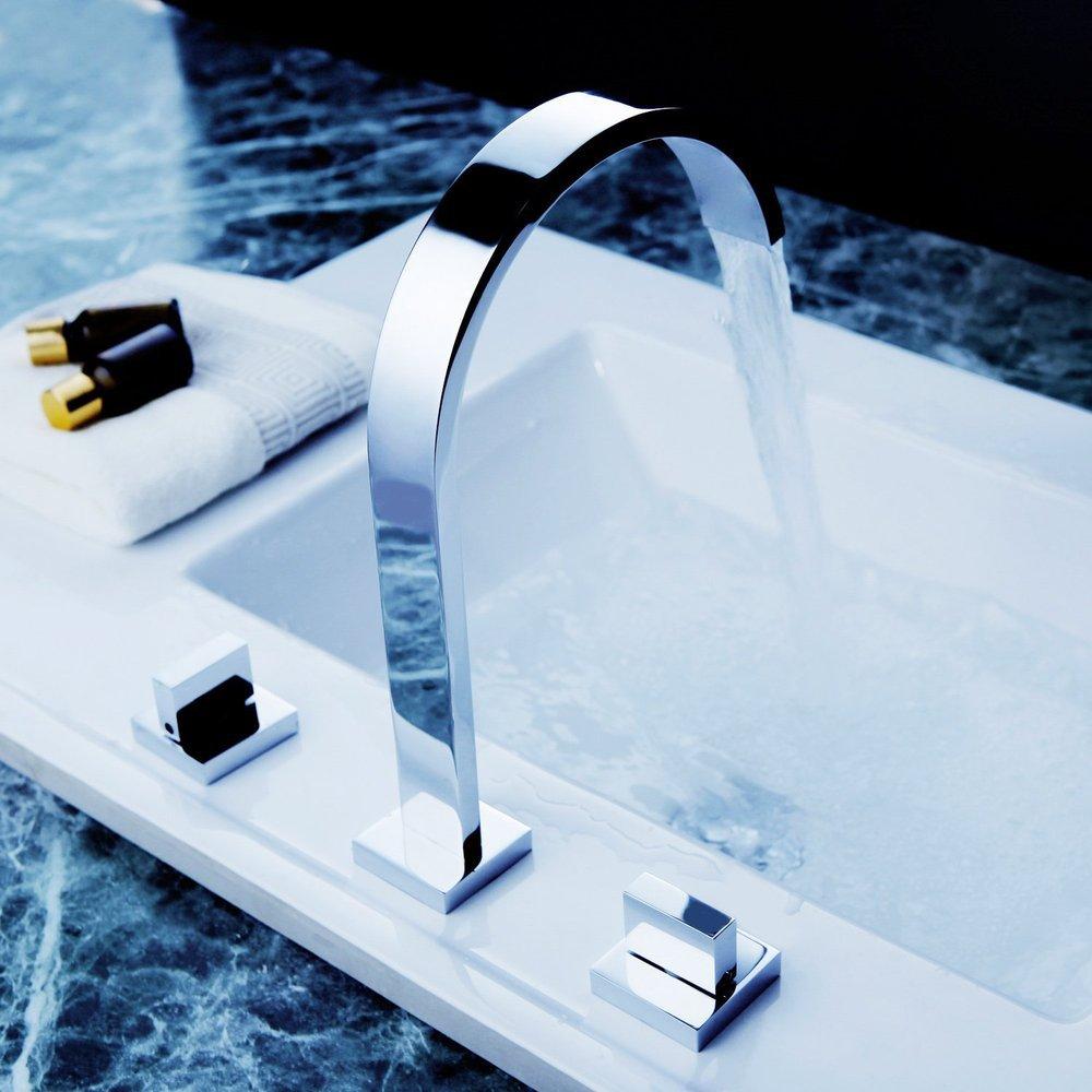 Waterfall bathroom sink - 2 Handles Square Bath Mixer Taps Widespread Waterfall Bathroom Sink Faucet Or Bath Tub Faucet Chrome Faucets Mixers Taps Cozinha