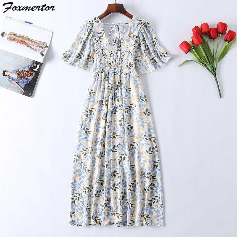 5 цветов модное богемное платье красивое новое летнее женское с цветочным принтом длинное шифоновое платье женское С Коротким Рукавом Плиссированное Платье