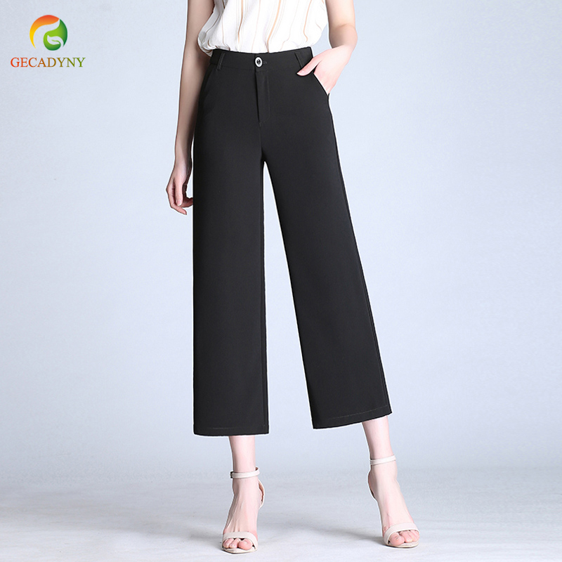 2019 New Women Trousers For Work Casual High Waist Wide Leg   Pants     Capris   OL   Pants   Women's   Pants   Female Plus Size S-6XL