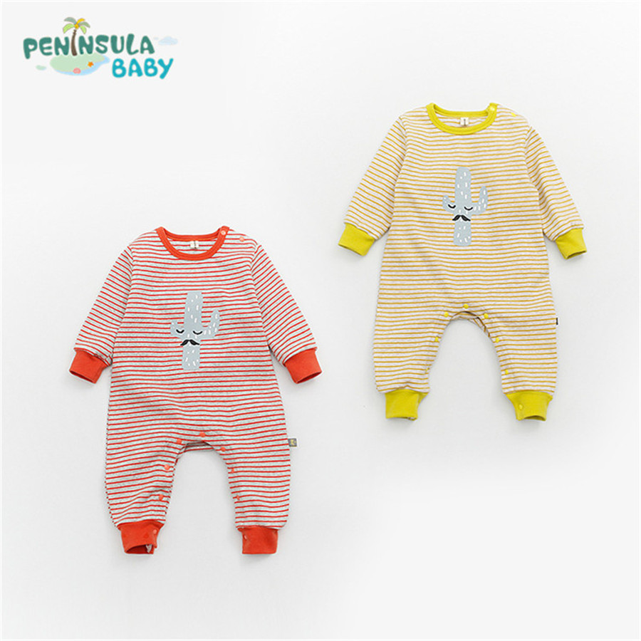 Spring Autumn Newborn Baby Girl Boy Clothes Cartoon Beard Rompers Long Sleeve Striped Cotton Sleepwear Jumpsuits Infant Costumes fashion baby clothes cartoon baby boy girl rompers cotton animal and fruit pattern infant jumpsuit hat set newborn baby costumes