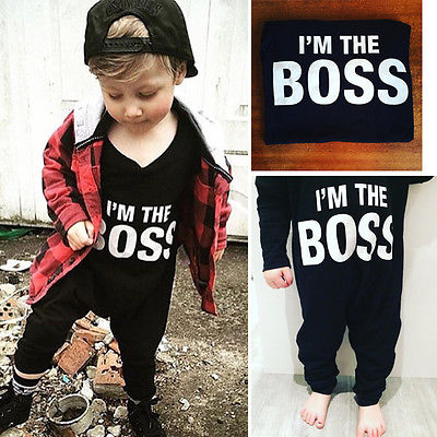Black Newborn Infant Baby Boy Long Sleeve Jumpsuit