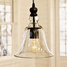 Retro Vintage estilo Industrial colgante Vintage gran campana de vidrio sombra lámpara de techo E27 casa colgante lámpara