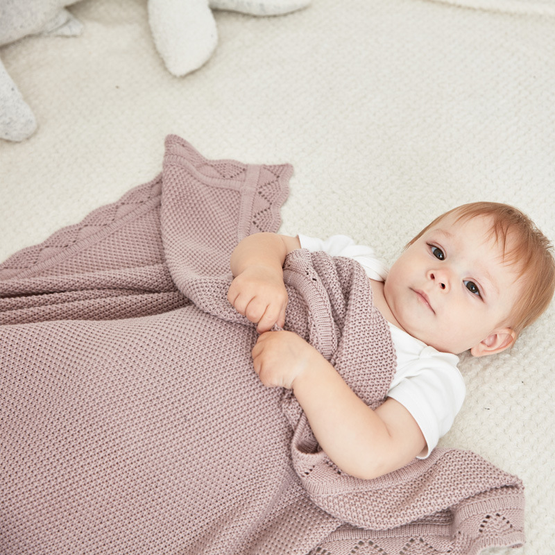 Baby Blankets Knitted 100%Cotton Newborn Infant Swaddle Wrap Blanket 100*80cm Winter Warm Toddler Kids Stroller Bedding Covers