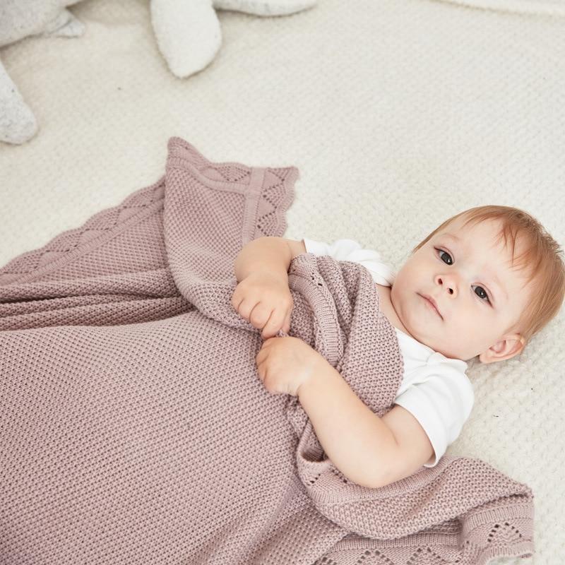 Baby Blankets Knitted 100% Cotton Newborn Infant Swaddling Blanket Wrapper Winter Warm Toddler Stroller Bedding Covers 100*80cm