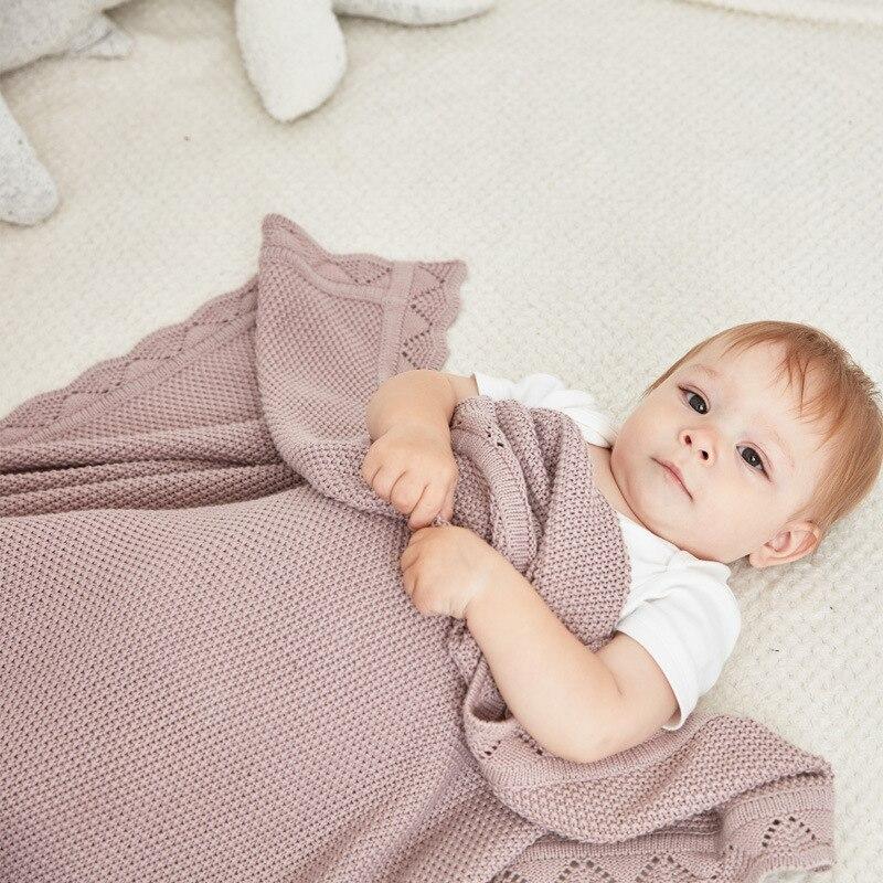 Постельные принадлежности для новорожденных, одеяло s, 100% хлопок, вязаное Пеленальное Одеяло для младенцев, обертка, Зимние теплые детские Чехлы для коляски 100*80 см-in Одеяла и пеленки from Мать и ребенок on AliExpress