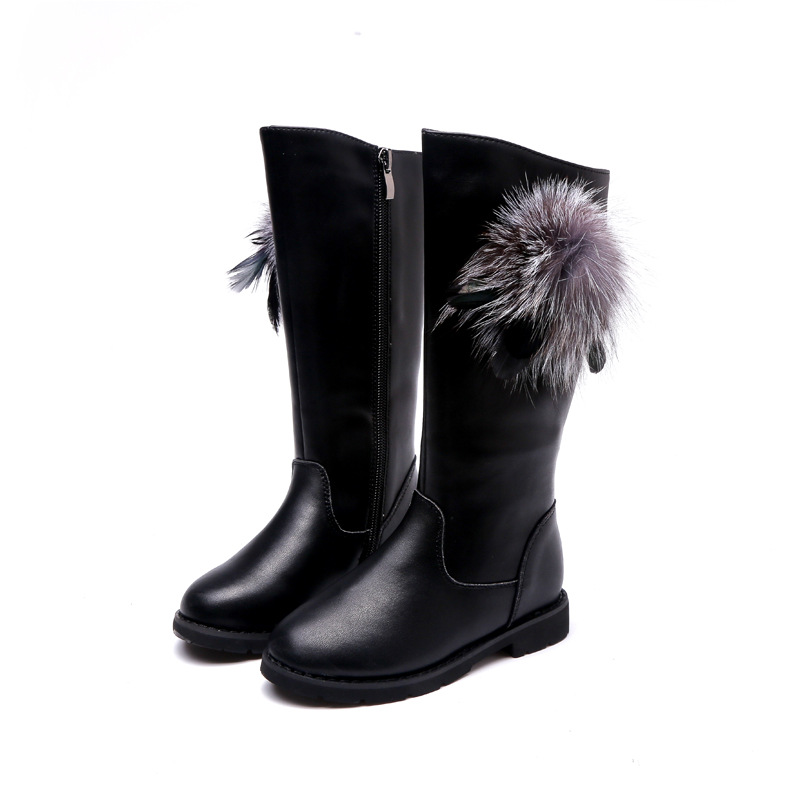 New Fashion Children Leather Boots Warm Princess Boots Girls Boot Kids Cute Shoes Size 26-37 kelme 2016 new children sport running shoes football boots synthetic leather broken nail kids skid wearable shoes breathable 49