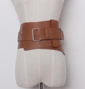 Image 3 - Nowe damskie ultra plus szerokie akcesoria do paska Faux Leather elastyczny gorset pas z przodu metalowa klamra pas biodrowy dziewczyna ubrać dekorację