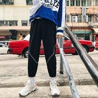 2018 Korean Autumn Men's Fashion Tide Striped Zipper Decorate Pants Elastic Waist Loose Casual Black/Grey Color Trousers M 2XL