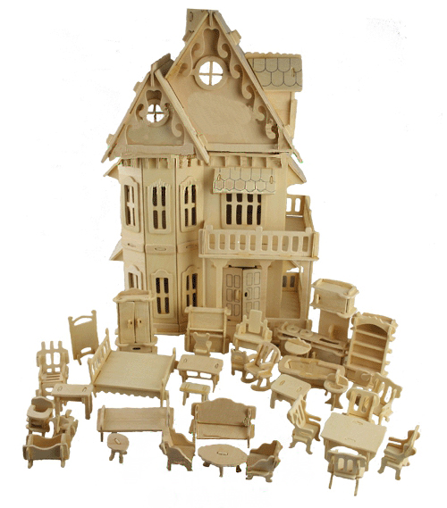 Toy Gothic Dolls House Wooden Scale Models 3D Puzzle Educational 1 Sets=1*House + 34*pcs Furniture ,30*18*45CM