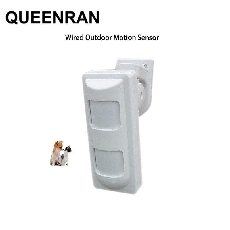 Wired Dual PIR i mikrofalowy czujnik ruchu Anti-odporność na zwierzęta na zewnątrz PIR czujnik ruchu z alarmem System alarmowy w domu włamywacza