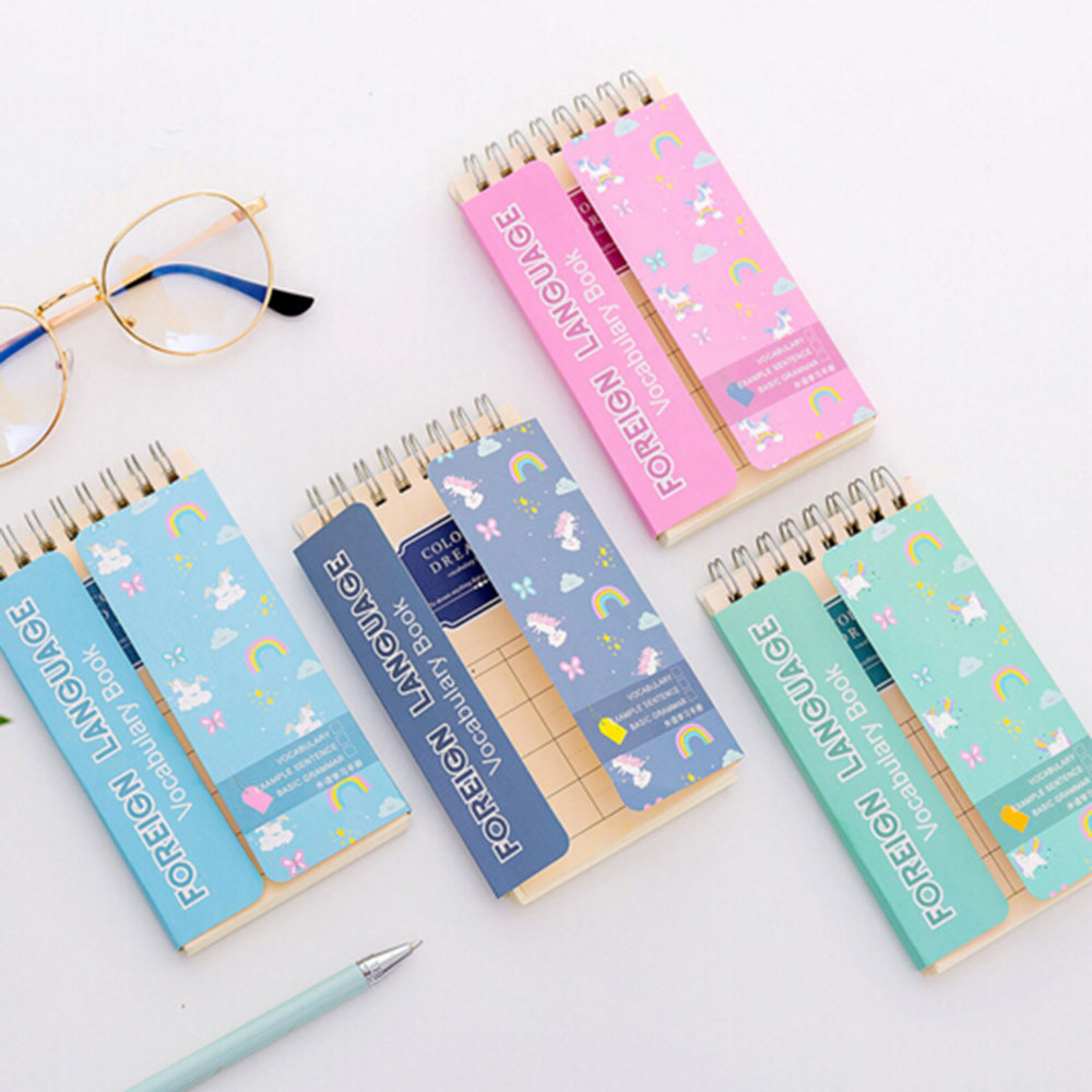 Unicorn Foreign Language Learning Coil Book Vocabulary Portable Pocket Notebook Diary Notepad School Office Supplies Stationery
