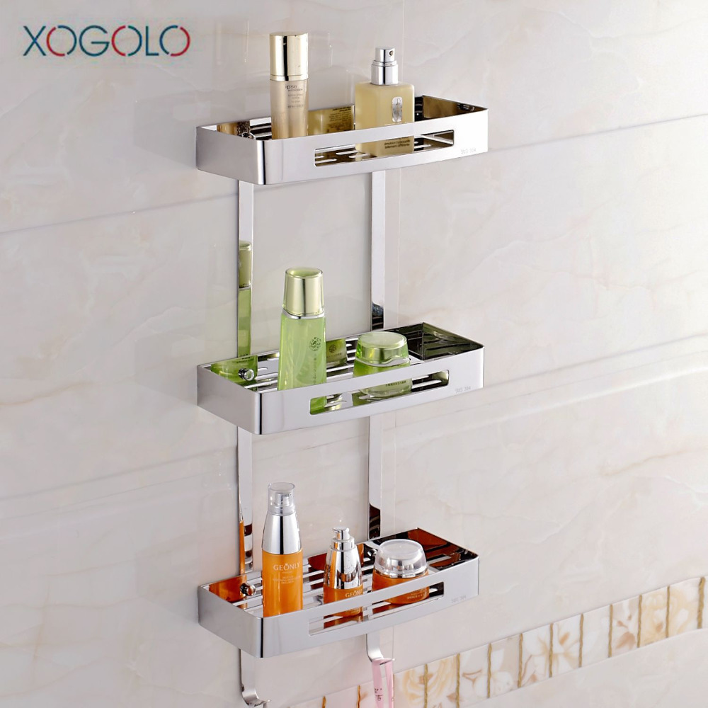 Xogolo Triple Tier Stainless Steel 304 Modern Wall Shelf Fashion Corner Bathroom Shelf