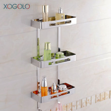 Xogolo Triple Tier Stainless Steel 304 Modern Wall Shelf Fashion Corner Bathroom Shelf Multifunctional Bathroom Rack Accessories lyss 5 tier corner ladder bookcase shelf