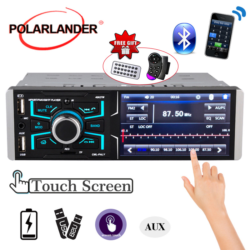1 din car radio with bluetooth stereo FM aux input receiver SD USB 12 V in-dash MP3 multimedia player