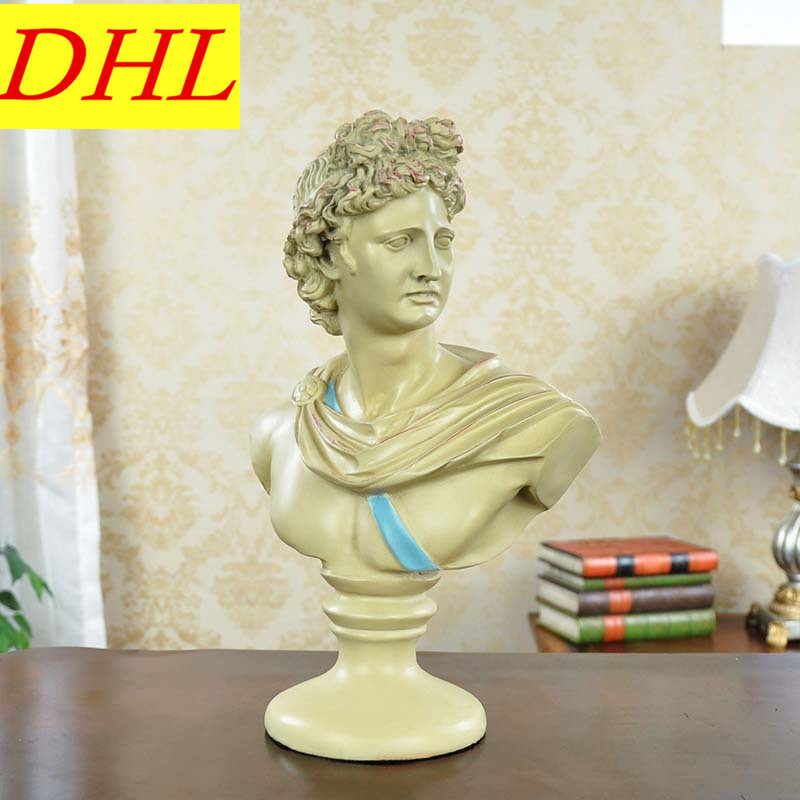Retro David Bust Figure Statue Michelangelo Buonarroti Gypsum Resin Craftwork Continental Home Decorations Collectible L2130 115cm retro greek mythology venus bust figure aphrodite venus statue gypsum resin craftwork desktop home decorations l2190