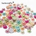 50pcs/100pcs 12mm multi options flower shape imitation Pearls Flatback beads for Scrapbook Decoration DIY Phone Art D15011201