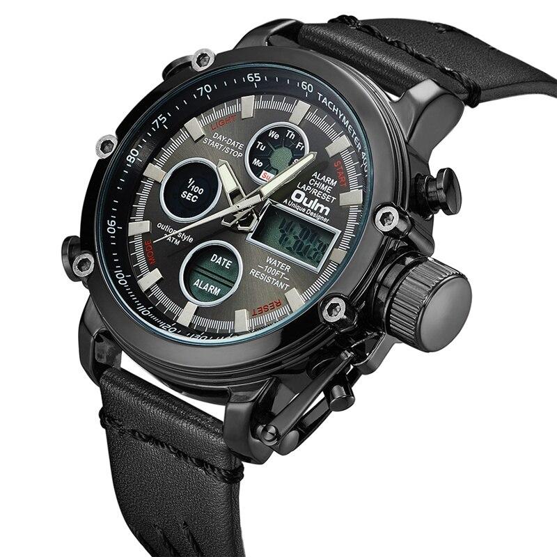 Oulm Dual Display Sport Men's Watches Genuine Leather Calendar Alarm Quartz Watch Luminous Hands Male Military Wristwatch Hours