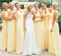2017 New Arrival Light Yellow Bridesmaid Dresses vestidos de madrinha Long Chiffon O-Neck Sleeveless Floor-Length Bridal Gowns