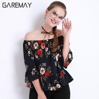 Off Shoulder Chiffon Women Blusas Summer White Tops Pattern Large Size Ruffle Blouse Chemise Clothing For